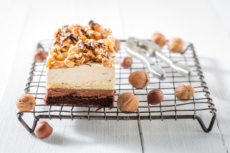 Sweet chocolate cake with walnuts and moouse Stock Photo