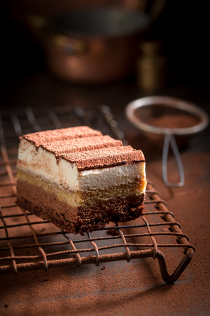 Delicious tiramisu cake with cocoa, mascarpone and biscuits