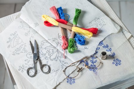 Vintage embroidered napkins with color mulina and paper model