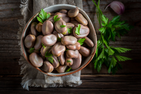 Healthy broad beans in old rustic kitchen Stok Fotoğraf