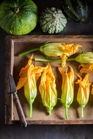 Ingredients for tasty roasted zucchini flower made of pancake batter Banco de Imagens