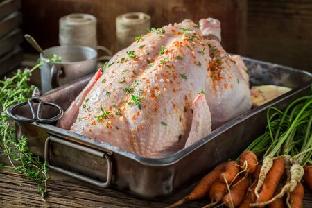 Preparation for roasted chicken with garlic and vegetables Stockfoto
