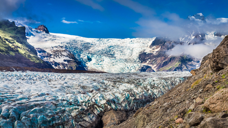 Huge blue Vatnajokull glacier and mountains, Iceland