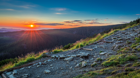 Stunning sunrise in Tatras view from the ridge, Poland