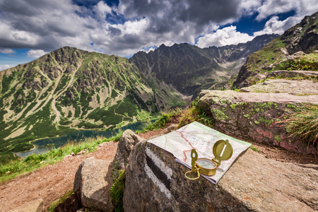 Navigation in Tatras with map and compass, Poland Stock Photo