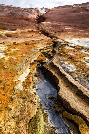 Sulfur and toxic geothermal area in Iceland