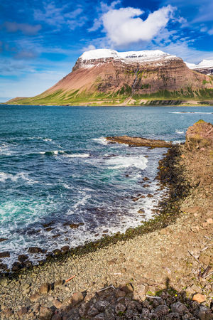 Arctic sea and mountains in summer, Iceland Stok Fotoğraf