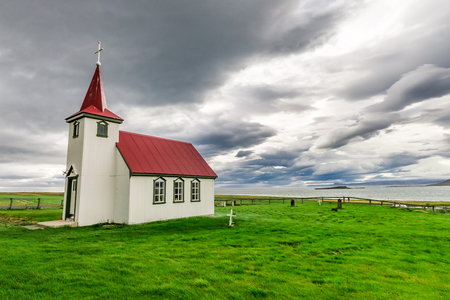 Lonely small church on the coast, Iceland