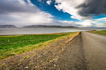 Road over the sea in summer, Iceland