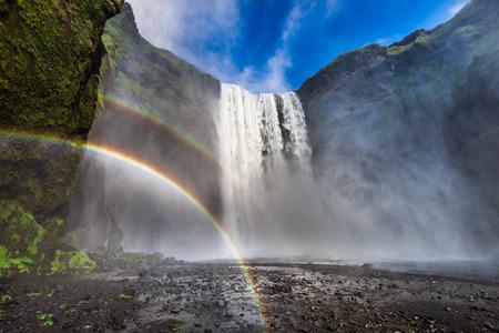 Beautiful waterfall Skogafoss in Iceland with rainbow