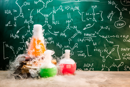 Rapid chemical reaction on chemistry lessons in school