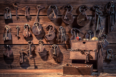 Wall of locks and keys in locksmiths workshop