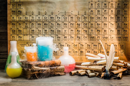 Books, scrolls and chemical reaction in school laboratory