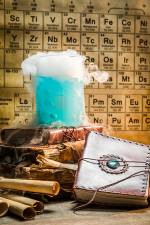 Dynamic blue chemical reaction in school laboratory