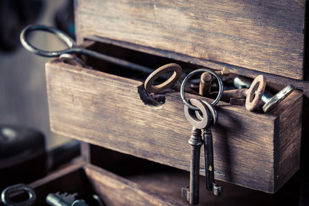 Wooden box with old keys in old locksmiths workshop Stock Photo