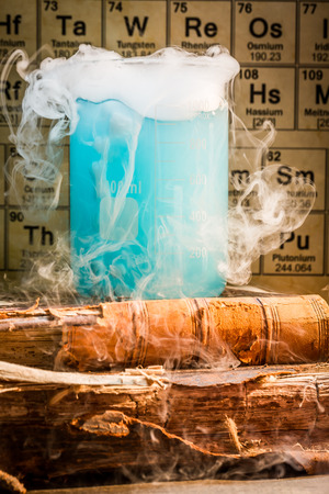 Chemical lab with color beakers in school