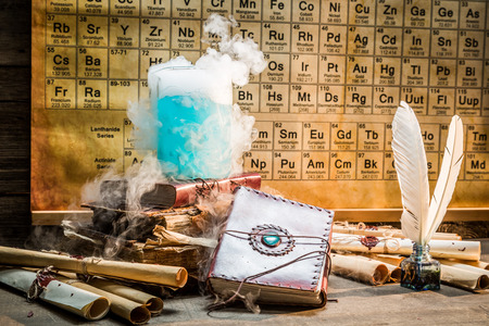 Research of the new element in school laboratory Stock Photo