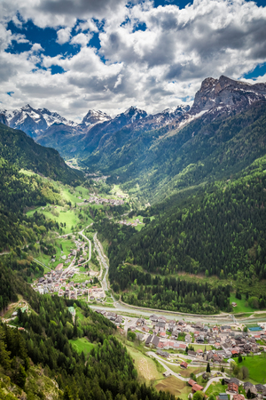 Beautiful small town in mountain valley, Dolomites Stock Photo