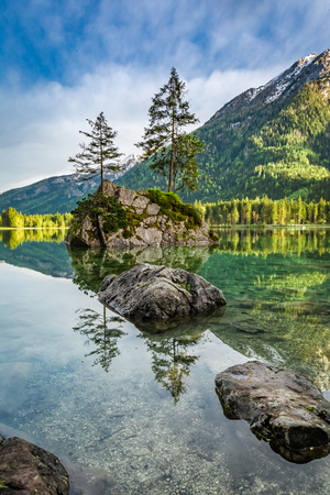 Stunning dawn at Hintersee lake in Alps in spring, Germany