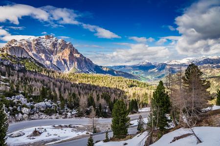 Cold dawn the Passo Falzarego in spring, Dolomites, Italy