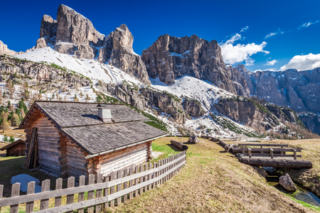 Small hut and beautiful dolomites in spring, Italy
