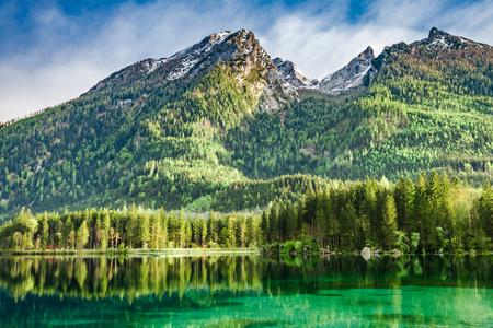 Beautiful dawn at Hintersee lake in German Alps