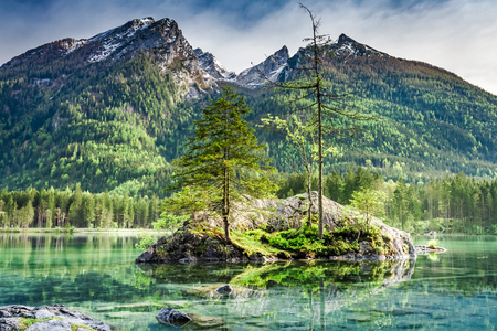 Green Hintersee lake in Alps in spring, Germany