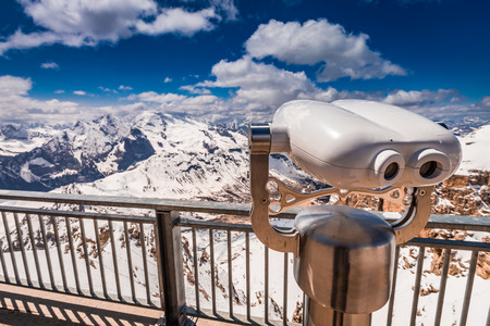 Binoculars on the top of Sass Pordoi, Dolomites, Italy, Europe