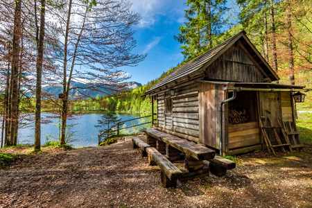 Old wooden hut in the forest, Alps, Germany