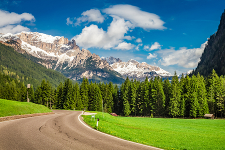 Beautiful view to road in Dolomites, Alps, Italy, Europe