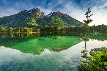 Sunrise at Hintersee lake in spring Alps, Germany, Europe
