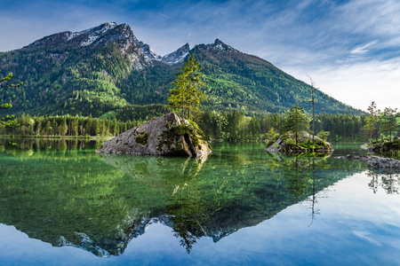 Cold dawn at Hintersee lake in Alps, Germany