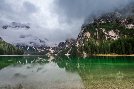 Lake Pragser Wildsee in Dolomites in spring, Europe Stock Photo