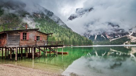Wonderful view of Pragser Wildsee in Dolomites Stock Photo