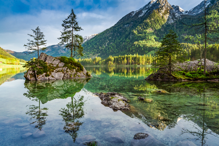 Spring sunrise at Hintersee lake in Alps, Germany