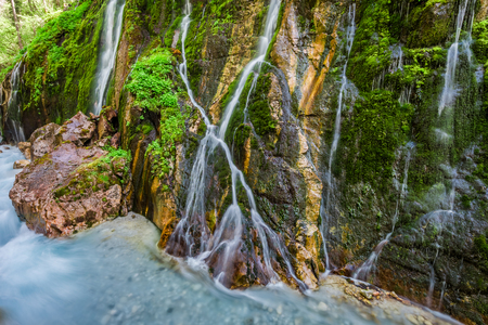 Motion blur in Wimbach waterfalls in the Alps 写真素材