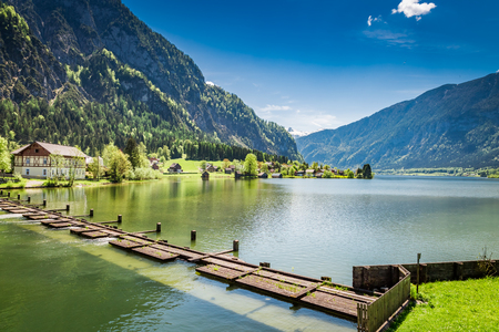 Alps and the lake at spring, Austria, Europe