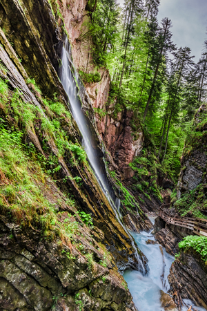 Stunning Wimbach waterfalls in the Alps, Germany