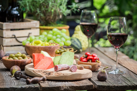 Table with appetizers and wine in summer garden