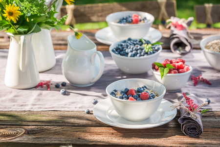 Tasty breakfast with berries and oat flakes in garden Stock Photo