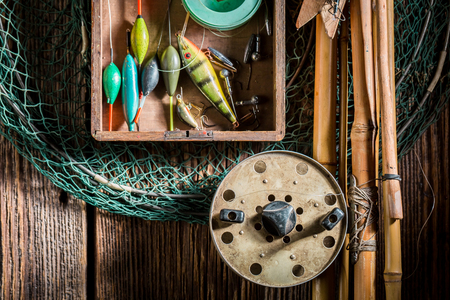 Top view of equipment for fishing with floats and rods Reklamní fotografie