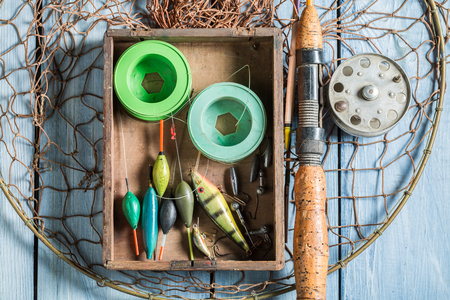 Top view of tackle fishing with floats, rods and hooks Stock Photo