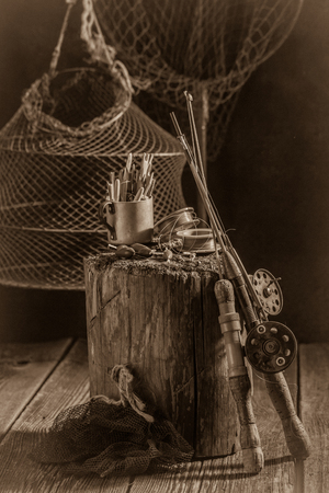 Vintage equipment for fishing with flies, rods and floats
