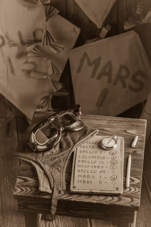Retro kites with space missions names and checklist and marker