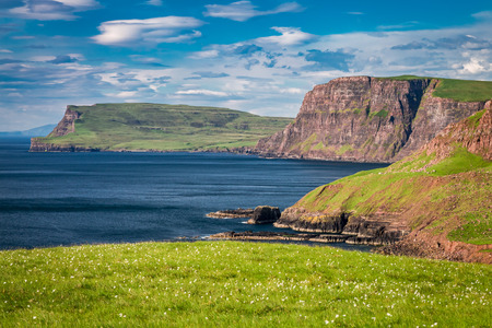 View to shore and cliff in Isle of Skye, Scotland Stock Photo