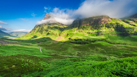Stunning sunrise over Glencoe in Scottish highlands