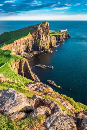 Stunning dusk at the Neist point lighthouse, Scotland Reklamní fotografie