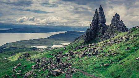 Green Old Man of Storr, Skye in cloudy day Banque d'images - 102389799