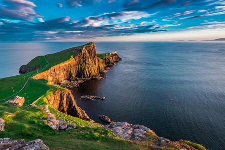 Wonderful sunset at the Neist point lighthouse in Scotland Stock Photo
