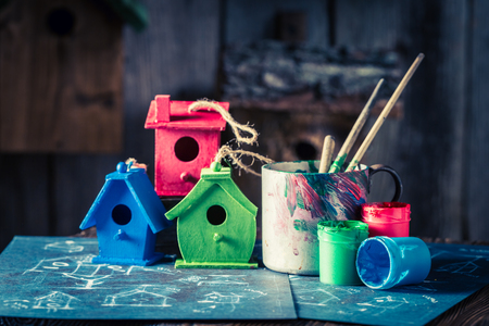 Homemade home for birds and blue construction scheme